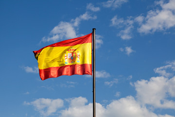 Spanish Flag in a Blue Sky