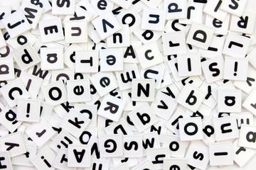 White alphabet letter tiles