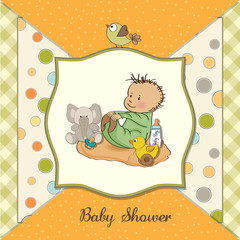 little baby boy play with his toys  shower card