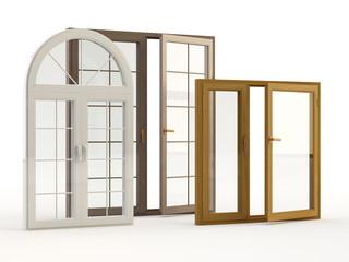 Fototapeta wood and plastic windows obraz