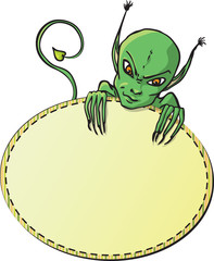 Рамка для текста с зеленым существом