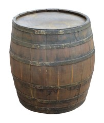 old wine barrel over white