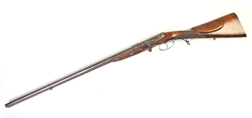 double-barrelled side by side hunting gun. England. XIX century