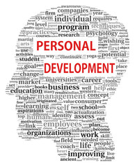 Personal development in word tag cloud