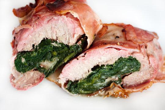 Mozzarella and spinach stuffed pork tenderloin roulade