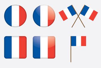 set of badges with flag of France vector illustration