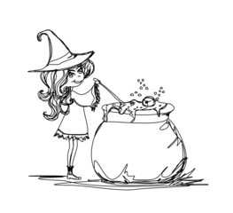 Halloween witch preparing potion - doodle