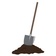 Shovel in heap of dirt