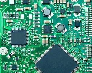 Closeup of computer circuit board