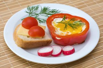 Eggs baked in pepper