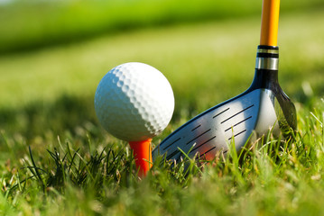 shiny driver behing the golf ball