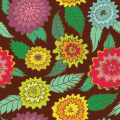 Seamless retro flowers pattern