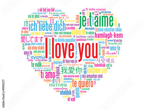 I Love You Tag Cloud Love Card Heart Romance Valentines Day