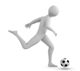 Soccer player kicking the ball.