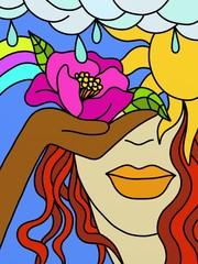 viso con fiore