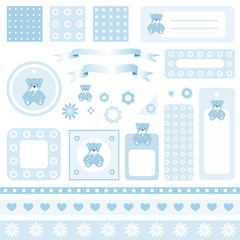 Design elements for scrapbook with seamless backgrounds