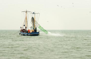 Trawler fishing in a lake