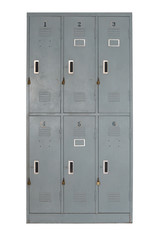 old grey metal locker used in gyms or pool-front