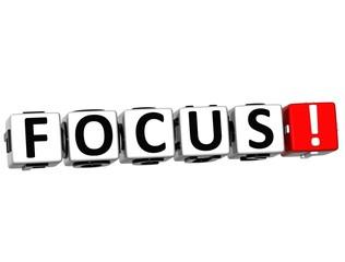 3D Focus Button Click Here Block Text