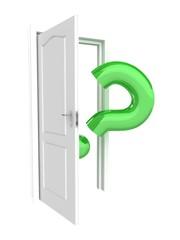 Door with green question