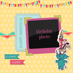 Birthday Card with Photo Frame - for scrapbook, congratulation i