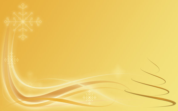Abstract gold holiday background with snow and Christmas tree
