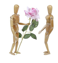 Wooden Model Giving Pink Rose