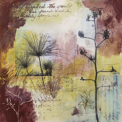 Mixed media painting with seedheads