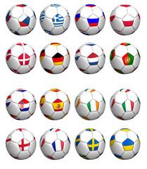 set balones con bandera de selecciones euro copa 2012