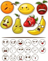 Funny Fruit with Expression