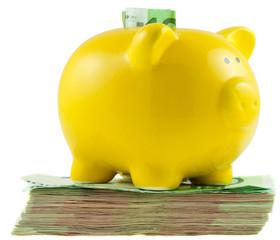 tirelire cochon jaune sur liasse de billets