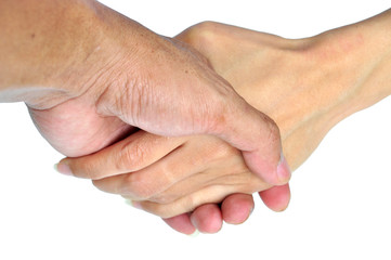 Business men and women hand shake in