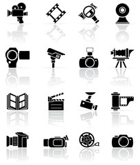 Set of black photo-video icons
