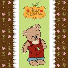 birthday greeting card with teddy bear