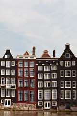 Row of canal houses in Amsterdam