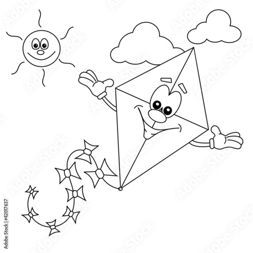 Exelent Kite Flying Coloring Pages Inspiration Documentation