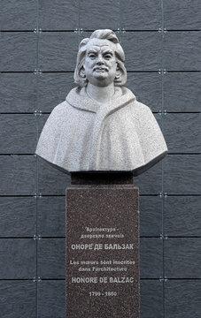 Monument to Honore de Balzac in Berdychiv, Ukraine