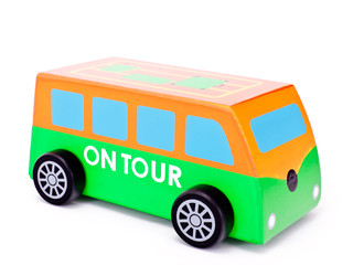 Little wooden toy bus