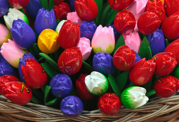 Dutch wooden souvenir tulips