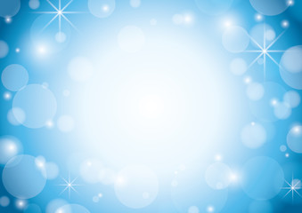 blue and white background with bokeh and stars - vector