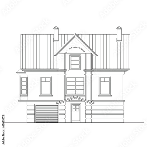 Detailed Drawing Of Small House Facade Stock Image And Royalty Free Vector Files On Fotolia