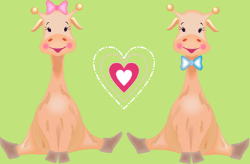The fairy tale giraffes are loving one another