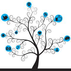 social media icon tree