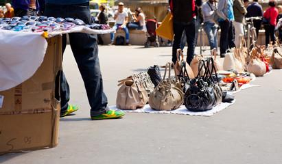 Counterfeit italian bags in the street