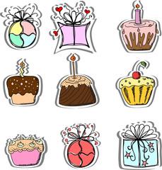 День рождения подарки и кексы