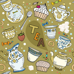 Seamless Victorian tea time brawn pattern