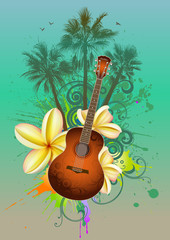 Tropical background with a guitar, palm trees and flowers