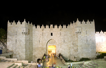 Damascus Gate Old City Jerusalem night light