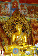 The main golden buddha in Chanasonkram temple, Bangkok, Thailand