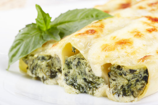 Kannelloni with spinach and ricotta baked in sauce bechamel